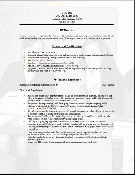 HR Recruiter Resumeexamplessamples Human Resources AssistantFree edit with word