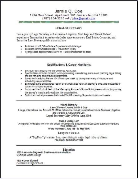 Cover Letter Legal File Clerk