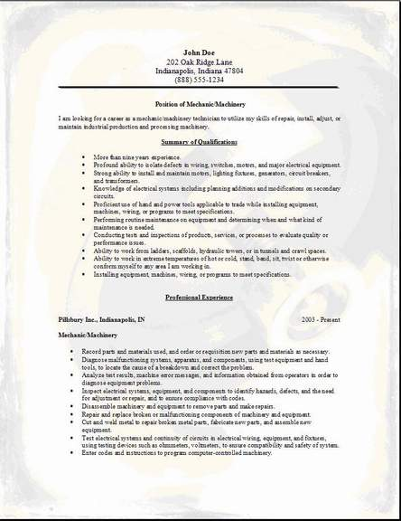Mechanic Machinery Resume Occupationalexamplessamples