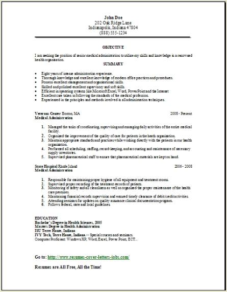 Medical Administration Resume Occupational Examples