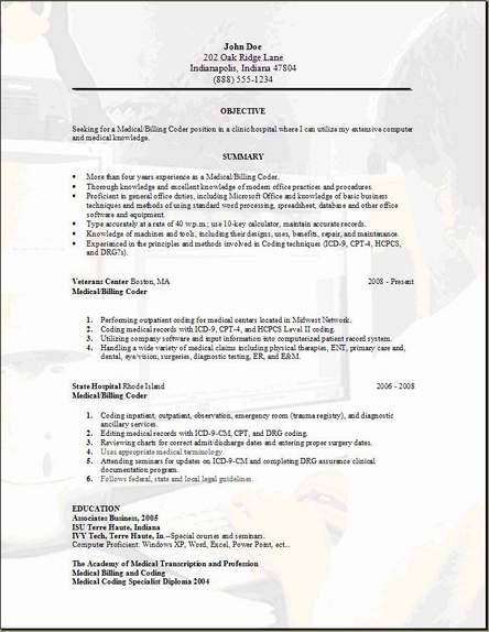 Medical Billing Resume Occupational Examples Samples Free Edit  Medical Billing Resumes