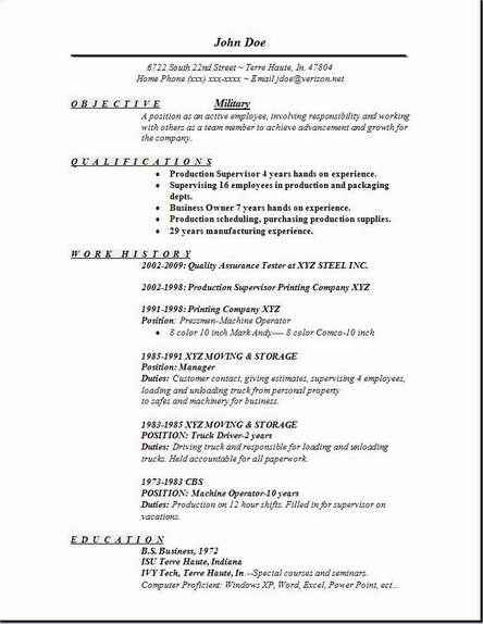 Military Resume Occupational Examples Samples Free Edit