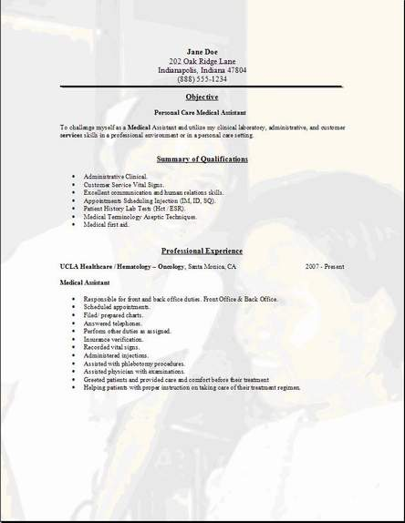 Personal Care Resume Occupational Examples Samples Free