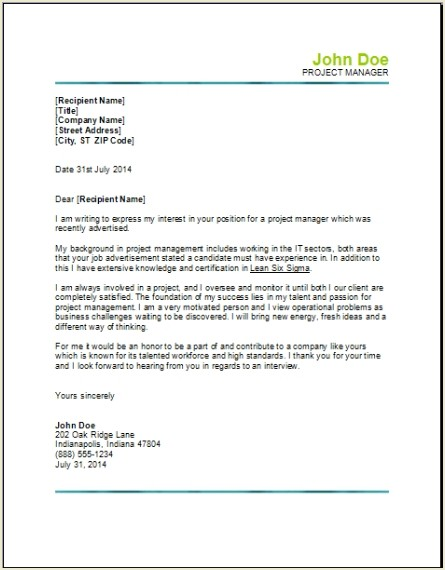 Cover Letter Construction Management. Resume Examples Director