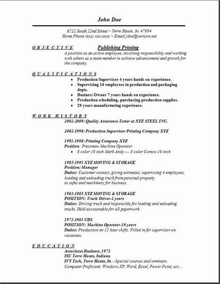 what a job resume should look like