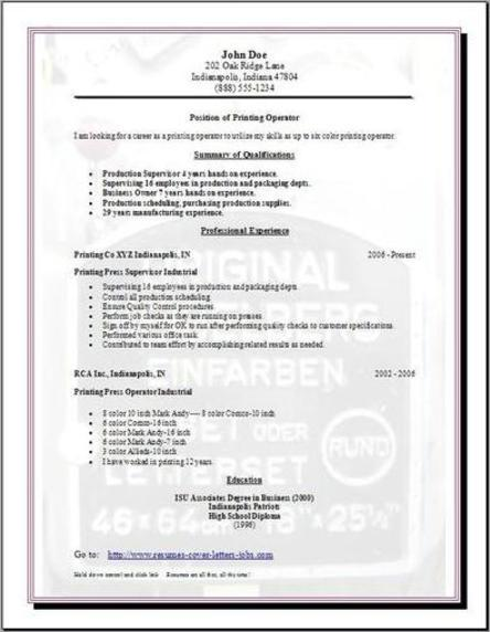 free resume templates and printing