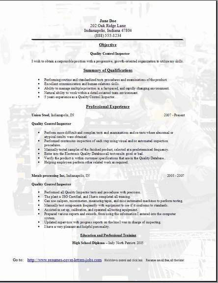 resume objective examples for quality control