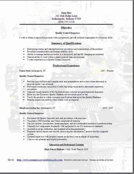 Quality Control Resume Occupationalexamplessamples Free