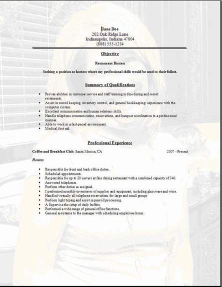 Restaurant Service Resume Occupationalexamplessamples