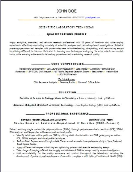 Science Biology Lab Resume Occupationalexamplessamples