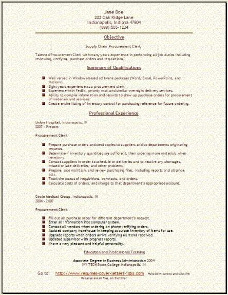 Supply Chain Resume Occupational Examples Samples Free