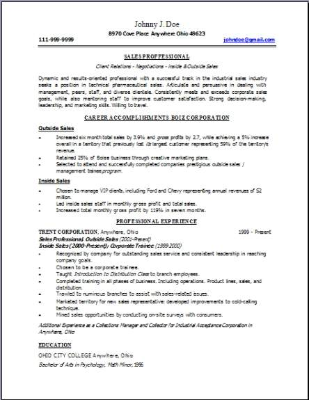 Technical Sales Resume Occupational Examples Samples Free