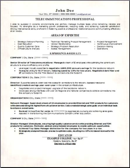 Telecommunications Resume Occupational Examples Samples