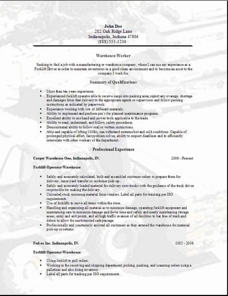Resumes For Warehouse Workers Worker Resume Sample