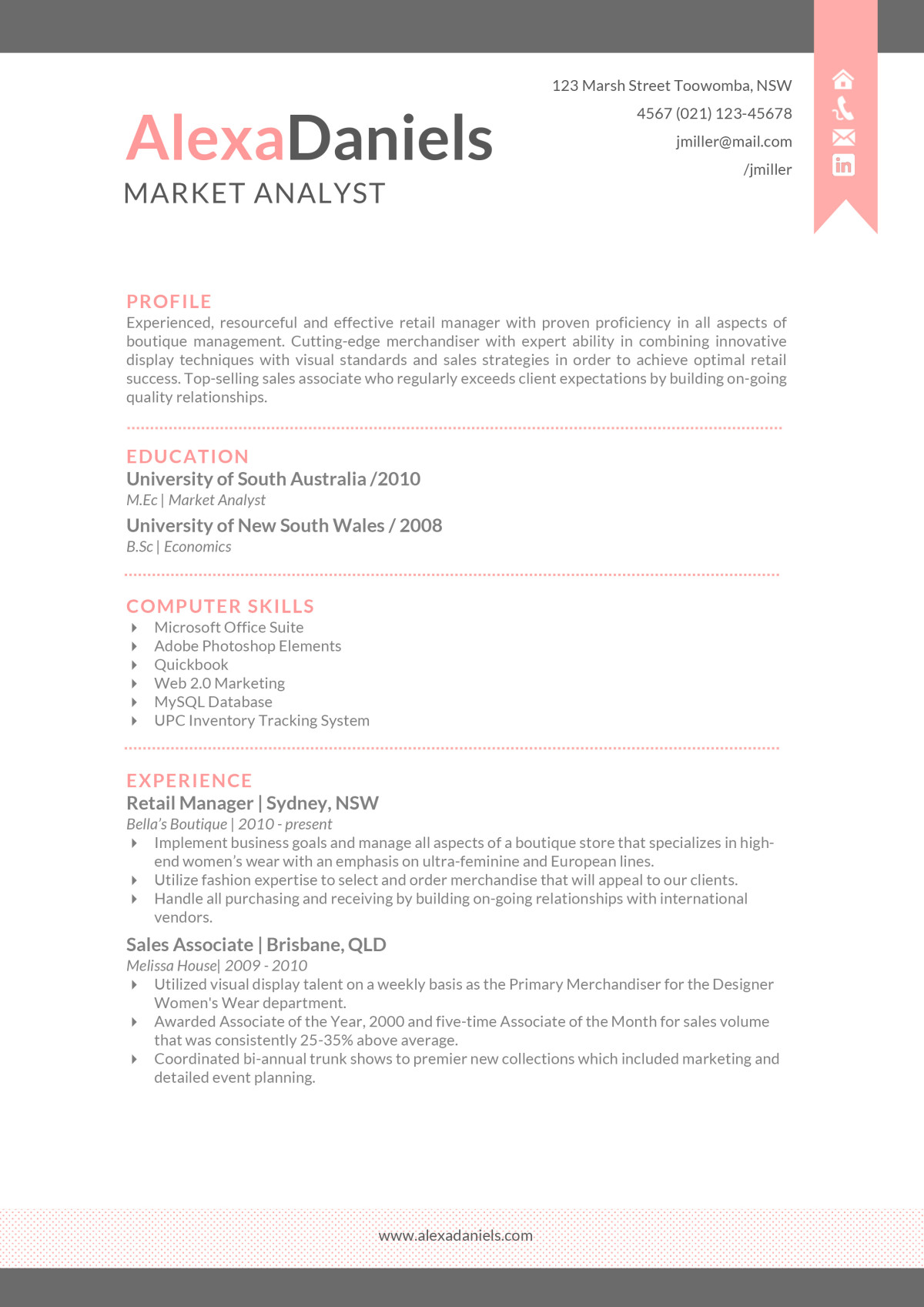The Alexa Resume  Creative Resume Template