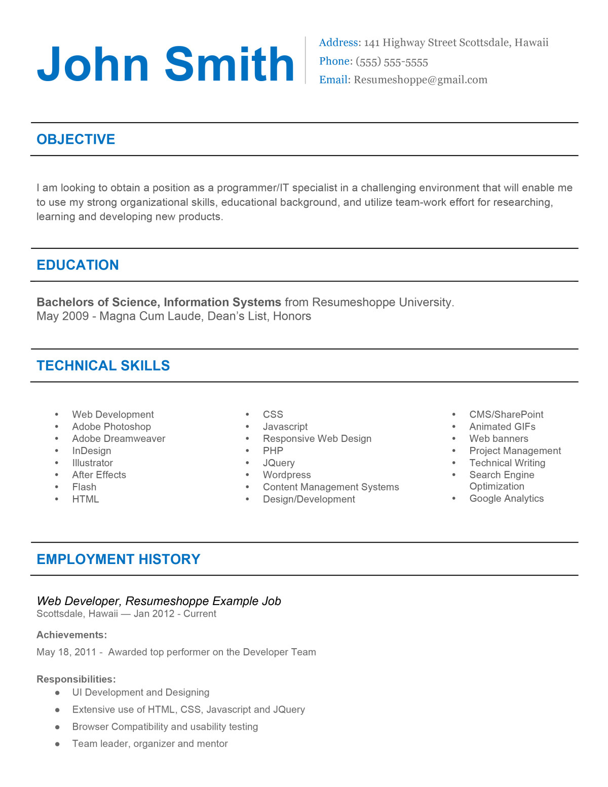 The John Resume 2  Simple but effective resume