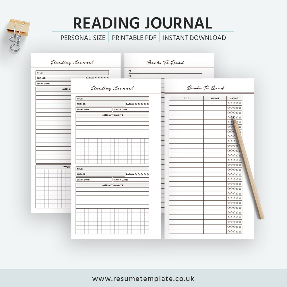 2019 Reading Journal Books To Read Reading List Book Review Printable Personal Size Filofax