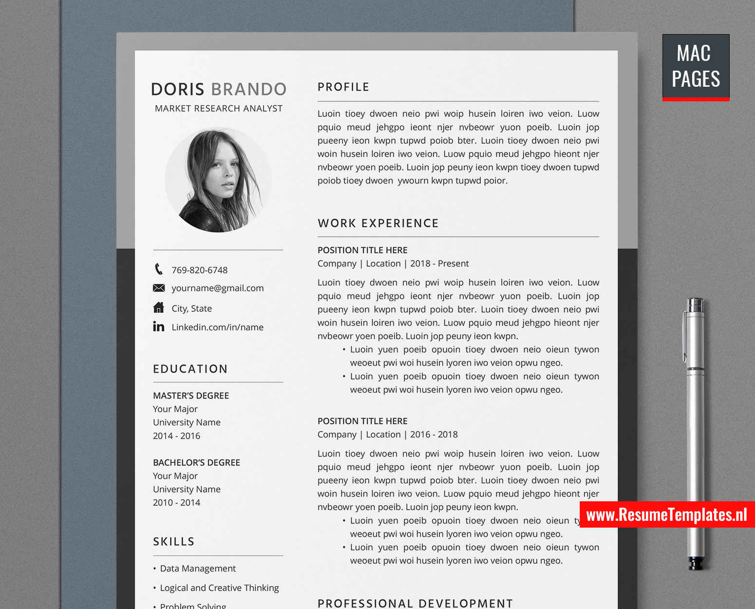 Free resume templates you may already have · 1. For Mac Pages Professional Resume Template Cv Template For Mac Pages With Cover Letter And References Template Modern Cv Template Job Resume 1 Page 2 Page 3 Page Resume Instant Download Resumetemplates Nl