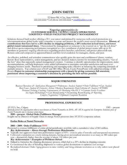 Global Order Fulfillment Officer Resume Template Premium