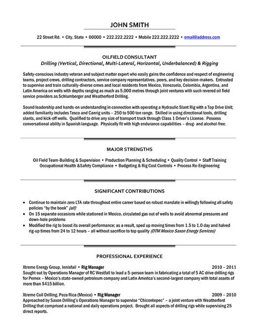 Oilfield Consultant Resume Template Premium Resume