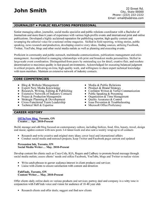 Public Relations Professional Resume Template Premium