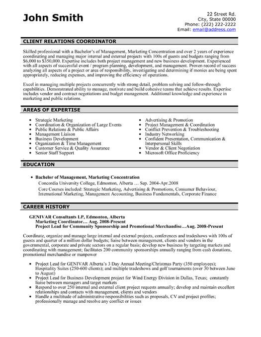 Client Relations Coordinator Resume Template Premium
