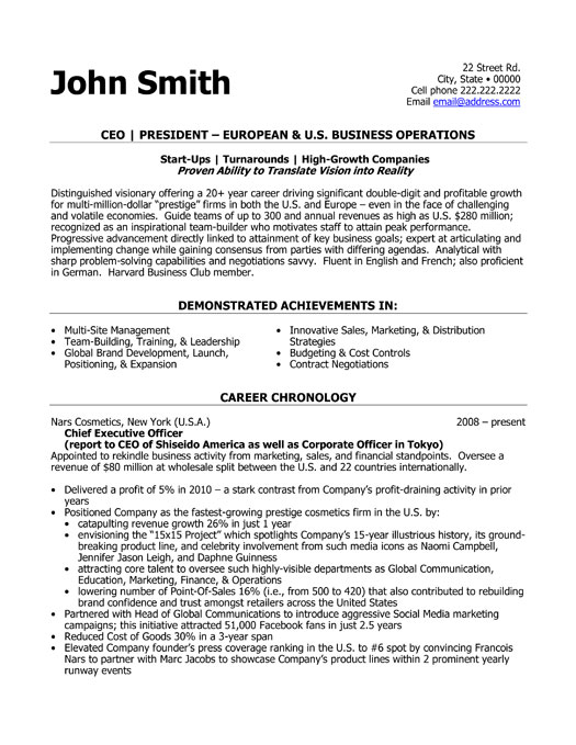 ceo resume cover letter examples