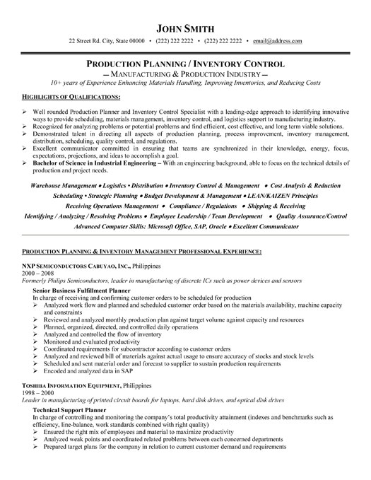 sample resume for production planning manager