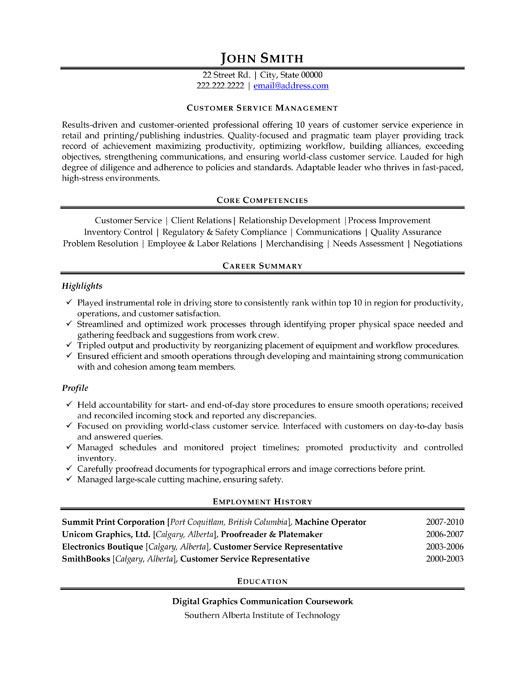 Customer Service Manager Resume Template  Premium Resume Samples  Example