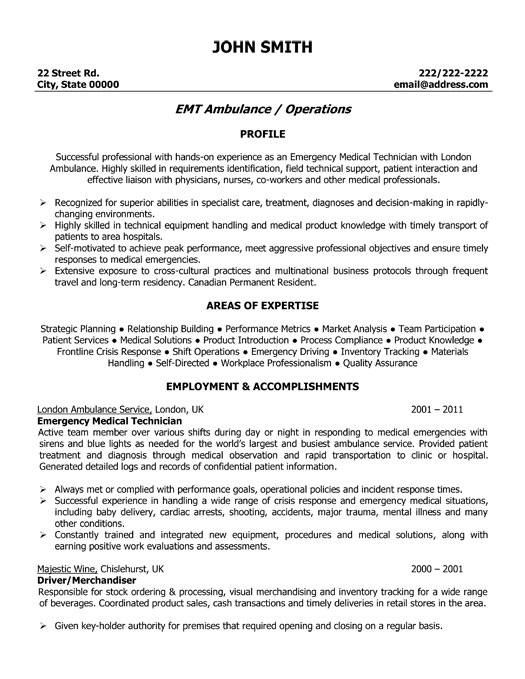 emergency medical technician sample resume