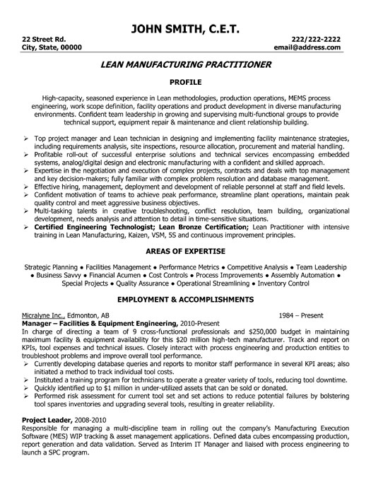 Lead Manufacturing Practitioner Resume Template Premium Resume Samples Amp Example