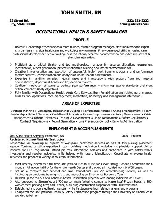 Occupational Health and Safety Manager Resume Template  Premium Resume Samples  Example