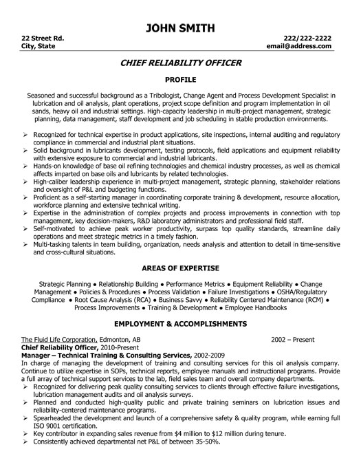 Chief Reliability Officer Resume Template  Premium Resume Samples  Example