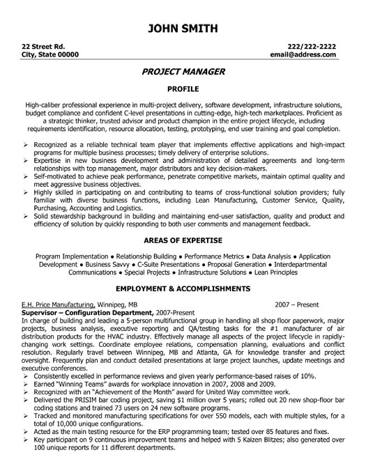 Project Manager Resume Template  Premium Resume Samples