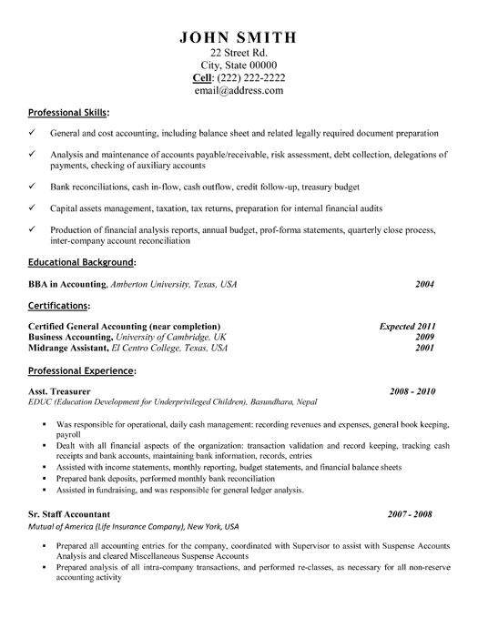 Assistant Treasurer Resume Template Premium Resume