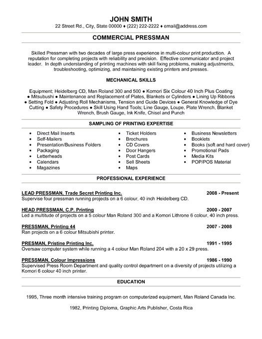 Commercial Pressman Resume Template Premium Resume