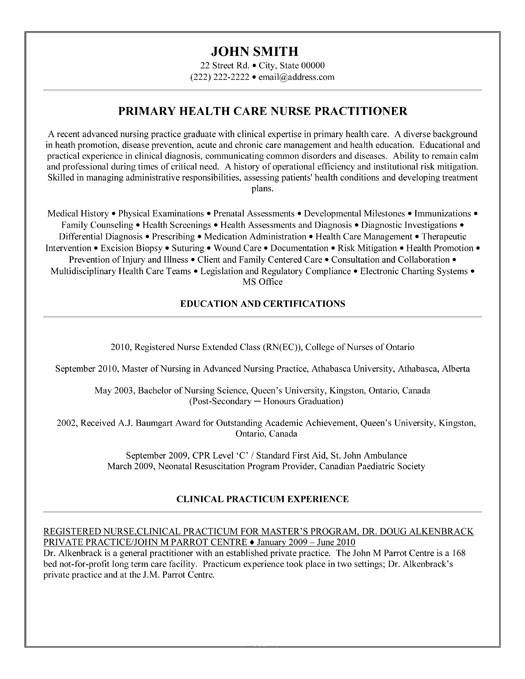 resume template for nurse practitioner