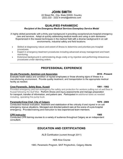 Qualified Paramedic Resume Template  Premium Resume
