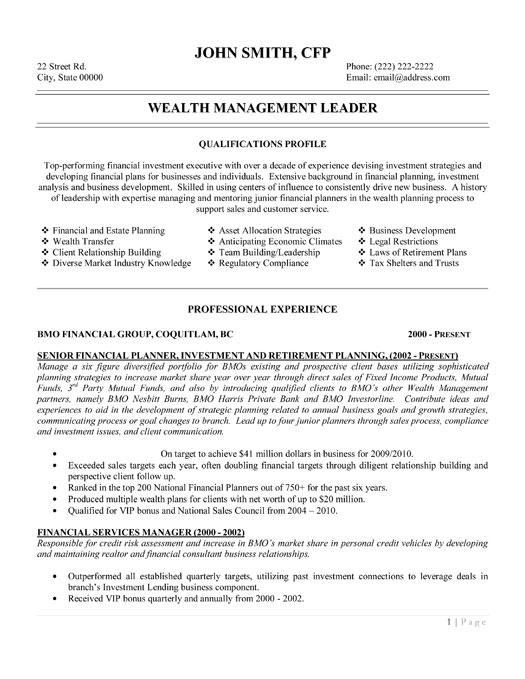 Wealth Management Leader Resume Template  Premium Resume Samples  Example