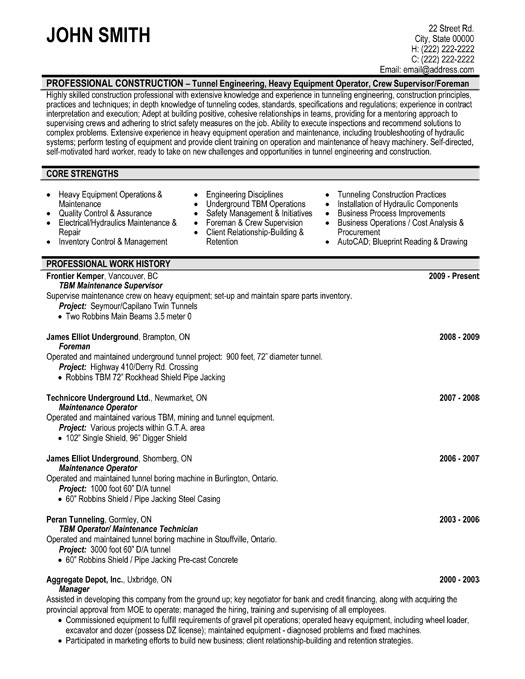 Maintenance Supervisor Resume Template  Premium Resume