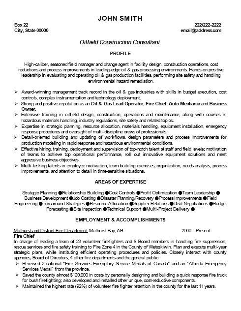Oilfield Construction Consultant Resume Template Premium