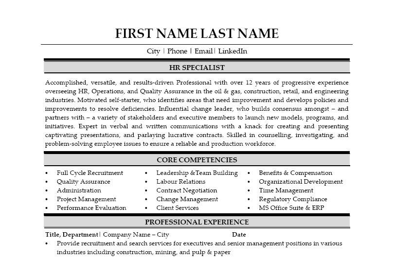 HR Specialist Resume Template  Premium Resume Samples