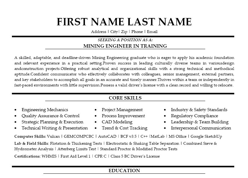 Mining Engineer In Training Resume Template Premium