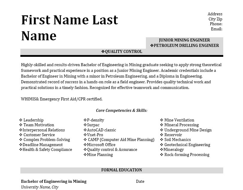 drilling engineer resume example