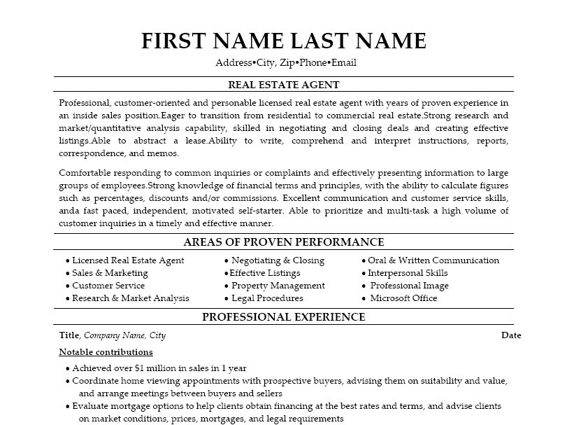 Real Estate Agent Resume Examples