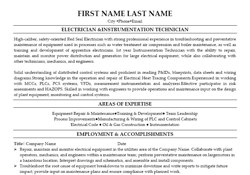 Electrician  Instrumentation Technician Resume Template  Premium Resume Samples  Example