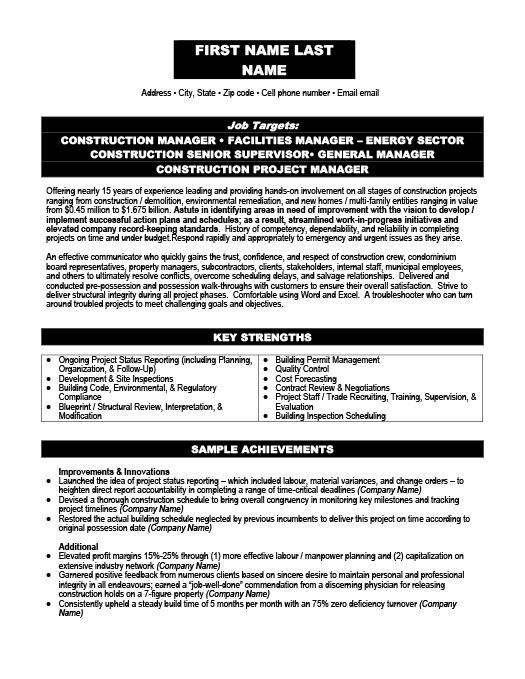Construction Resume Templates, Samples & Examples   Resume Templates 101
