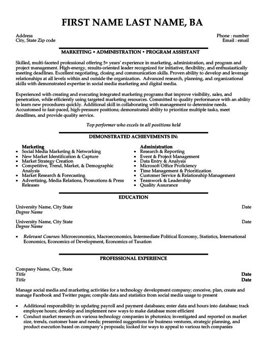 Marketing And Payroll Assistant Resume Template Premium