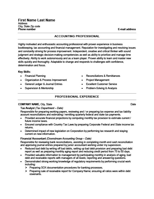 Accounting Resume Templates Samples & Examples Resume
