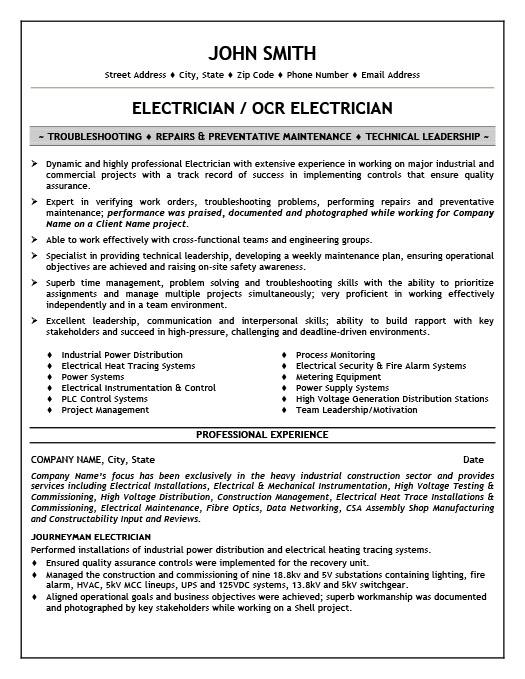 Electrician Resume Template Premium Resume Samples & Example